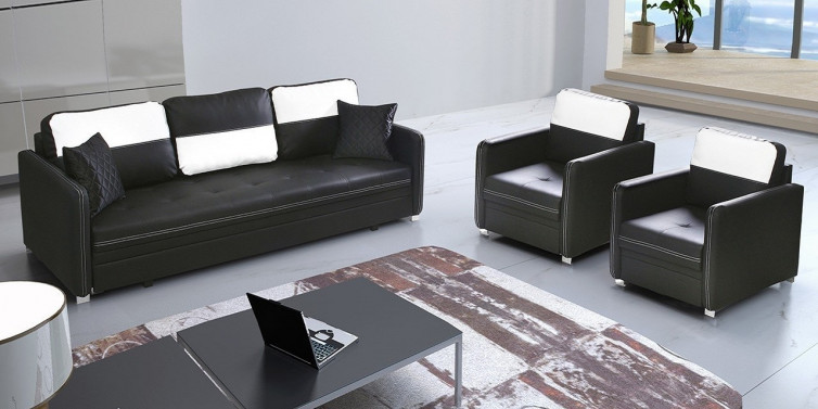 MODERNO WHITE IN BLACK 3+1+1 SOFA GRUPPE